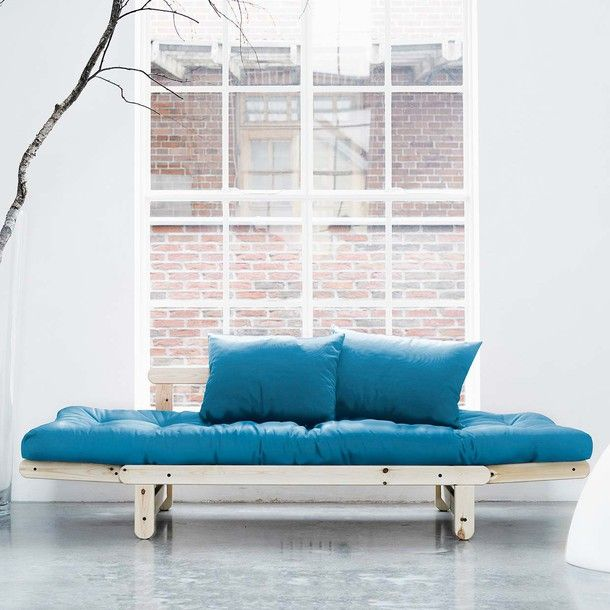 Beat Blue With Natural Frame by Fresh Futon