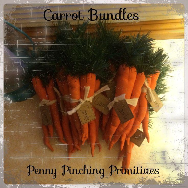 Carrot bundles   Penny Pinching Primitives   Pinterest