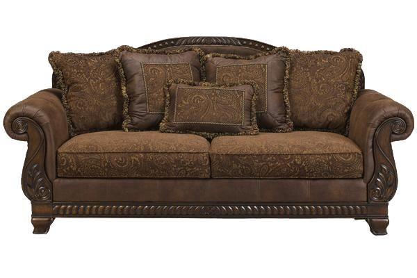 Bradington truffle sofa by ashley furniture wayside