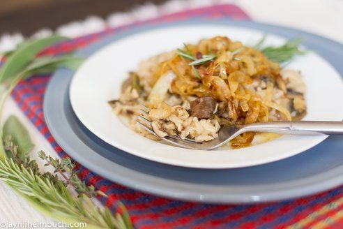 Baked mushroom risotto with caramelized onions: dried shiitake ...