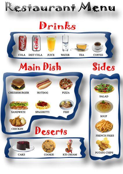 Kids Printable restaurant menu - pretend role play
