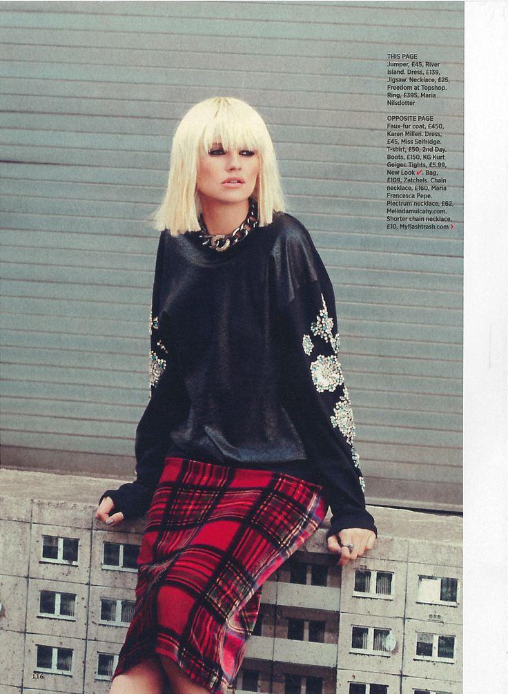 Red Velvet Tartan Dress  Cosmopolitan  September 2013 #Fashion #aw13 #Yayer
