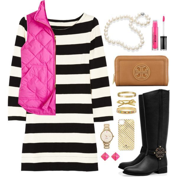 wear that J. Crew puffer vest to work with a dress and boots!