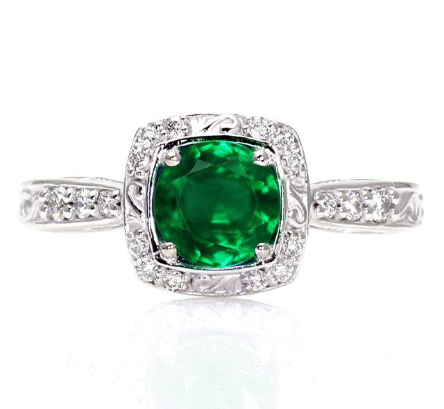 deco emerald engagement ring halo 14k emerald ring vintag