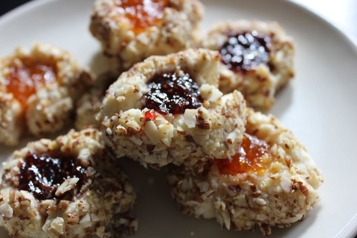 Jam Thumbprint cookies with ground almonds + pecans - Fancy Casual www ...