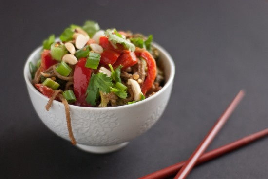 Peanut Soba Noodles with Broccoli and Red Pepper | Recipe