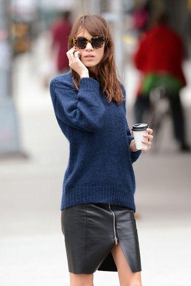 Navy sweater and black zip skirt