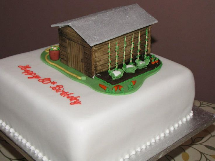 Garden shed cake for an 80th birthday exquisite cakes for Gardening 80th birthday cake