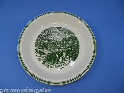 "Pie Plate Currier and Ives Christmas Snow 10"" Green and White Winter Holiday"