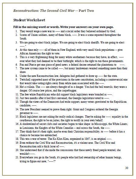 Printables Civil War Worksheet civil war worksheets plustheapp reconstruction the second video cloze worksheets