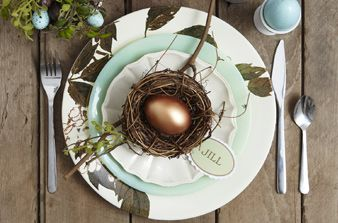 The brown and robin egg blue table setting