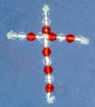 pipe cleaner and beads to make a cross (for necklace)