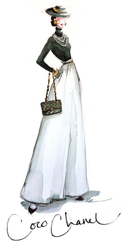 Coco Chanel...hand drawn design...& signed....elegance in motion....her view of the female silhouette...