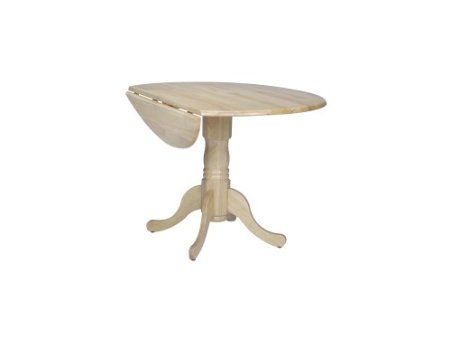 Round 42 Dual Drop Leaf Dining Table White Natural