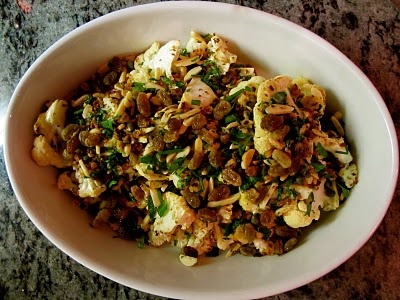 Cauliflower with Raisins, Capers, Almonds and Chives