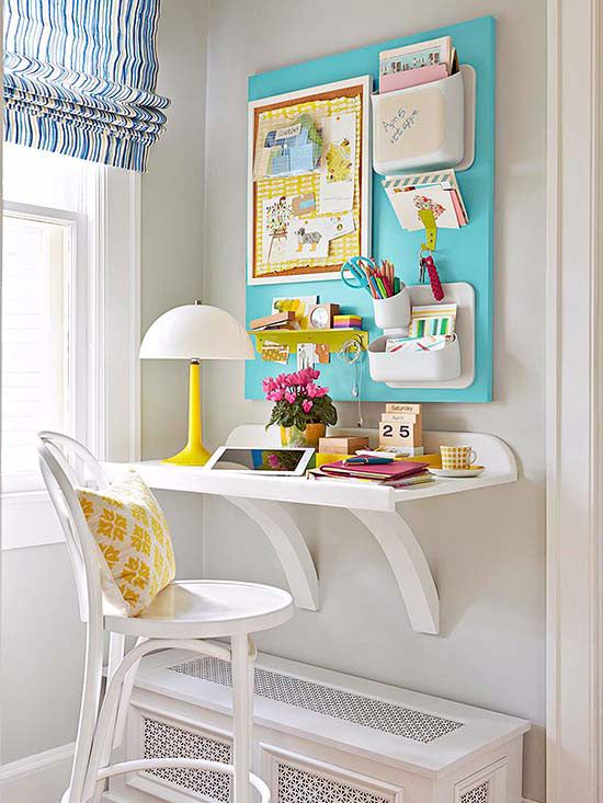 Corner Office: Transform the smallest of corners into a storage-packed office by utilizing wall space. Here, a wall-mount shelf becomes a desk with plenty of work space, and a board outfitted with wall-mount organizers takes organization vertical.