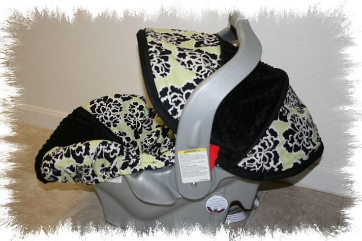 Lime Green Black Modern Infant Car Seat Cover