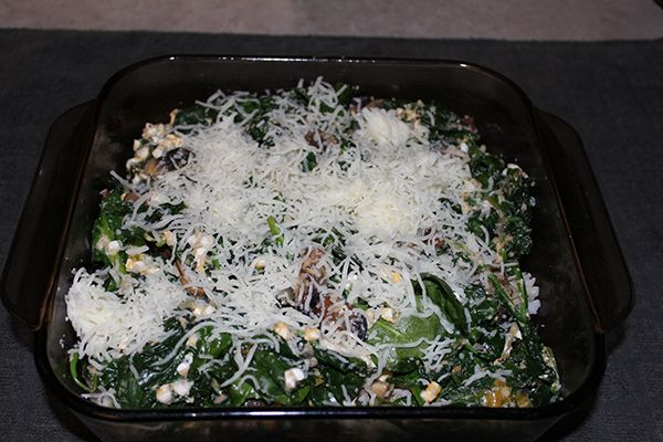 Clean Eating Spinach, Mushrooms, And Brown Rice Casserole