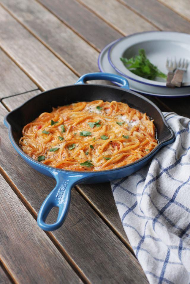 frittata di spaghetti - great recipe for leftover pasta & tomato sauce