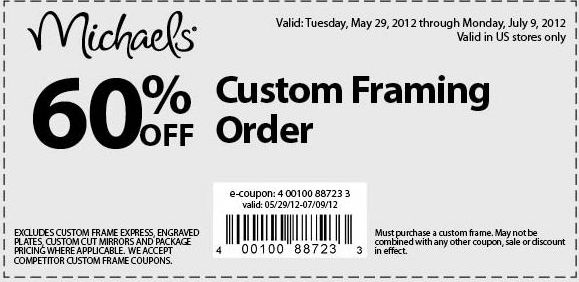 Michaels: 60% off Framing Printable Coupon