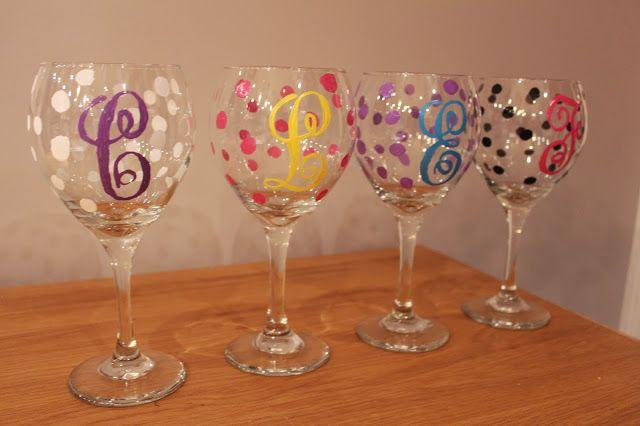 Diy monogram wine glasses decorating ideas for ladies for Wine glass ideas