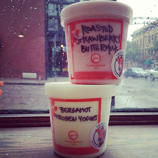Roasted Strawberry Buttermilk ice cream and Bergamot Frozen Yogurt ...