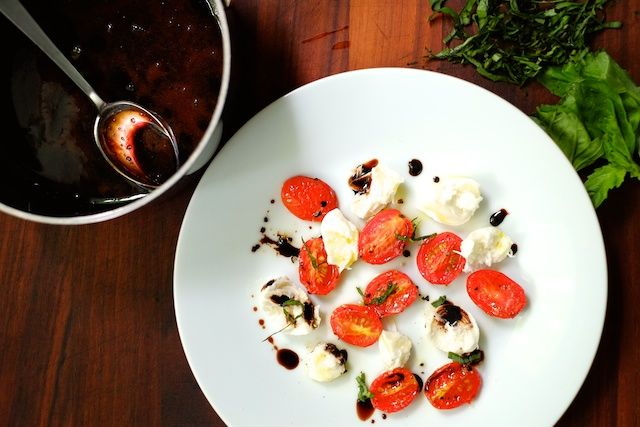 Sweet Salty Tart | Roasted Tomato Caprese Salad with Balsamic Reuction