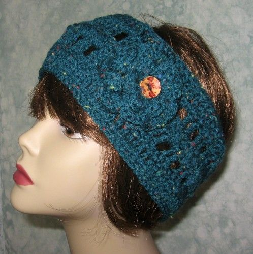 Free Crochet Pattern For Ladies Headband : Crochet Pattern Womens Headband With Double Flower Trim PDF