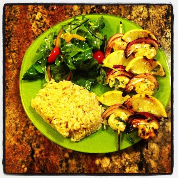 Sunday dinner: Garlic, lemon and cilantro marinated shrimp skewers ...
