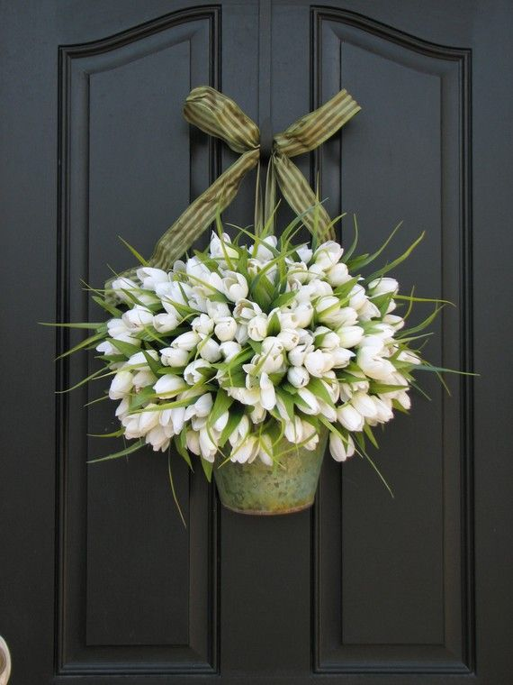 Black front door - white tulips in metal bucket