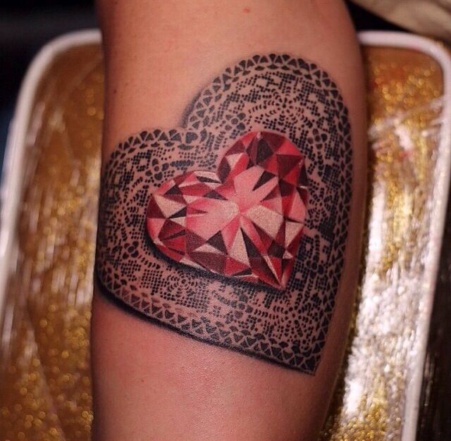 Ruby heart tattoo tattoos pinterest for Diamond heart tattoo