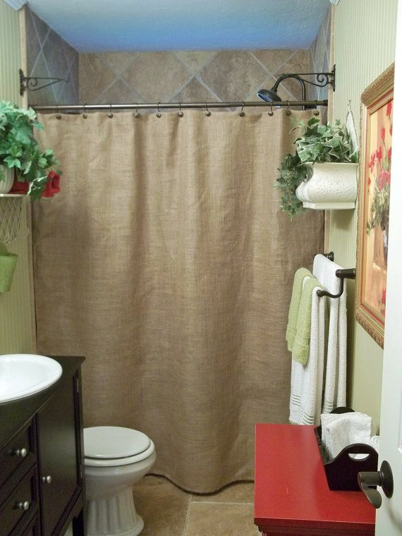 Burlap Shower Curtain Rustic Country French Chic