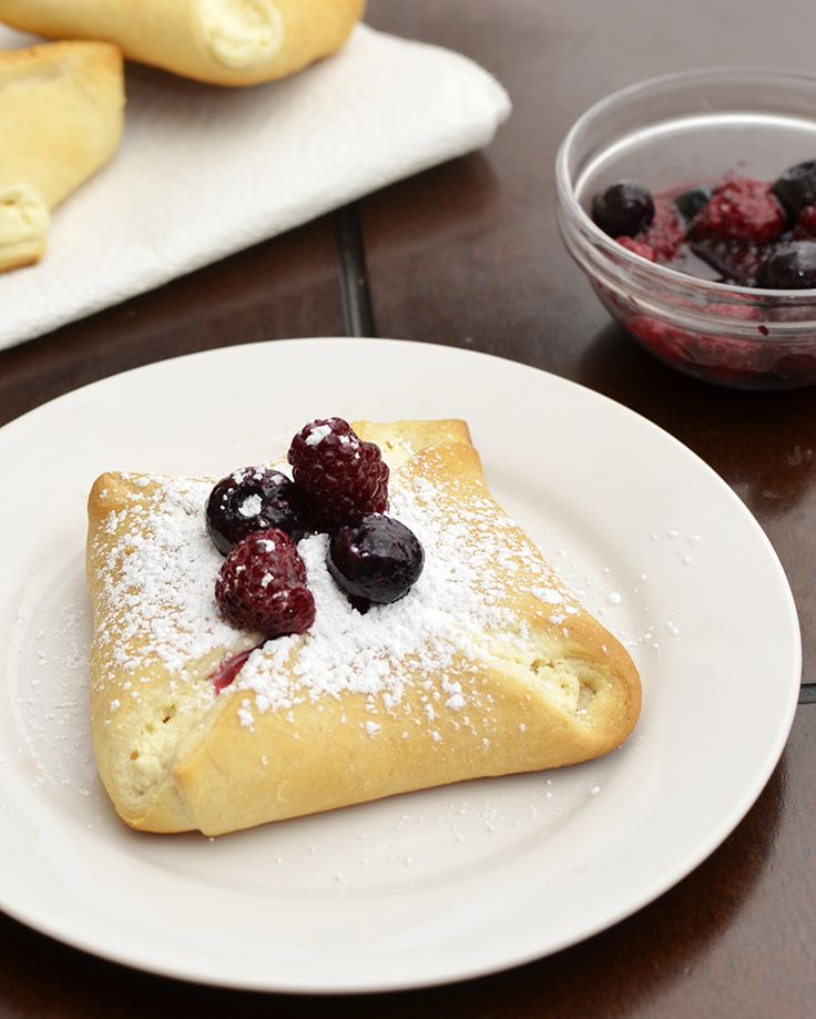 cream cheese danish w/powdered sugar & berries on top: 8 oz cream ...