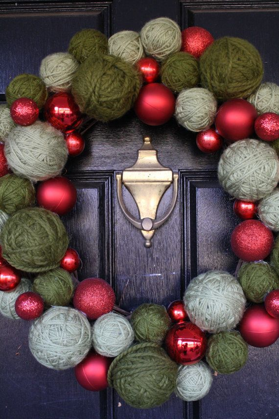 Christmas Wreath Red Christmas balls and green by barndoorstudios