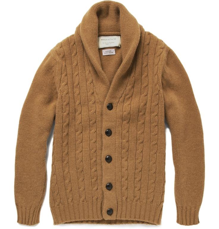 Knitting Cardigan Collar : Cable knit shawl collar cardigan many men pinterest