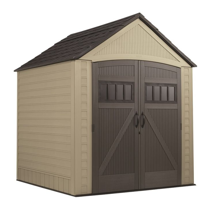 Rubbermaid roughneck gable storage shed common 7 ft x 7 for Rubbermaid storage shed