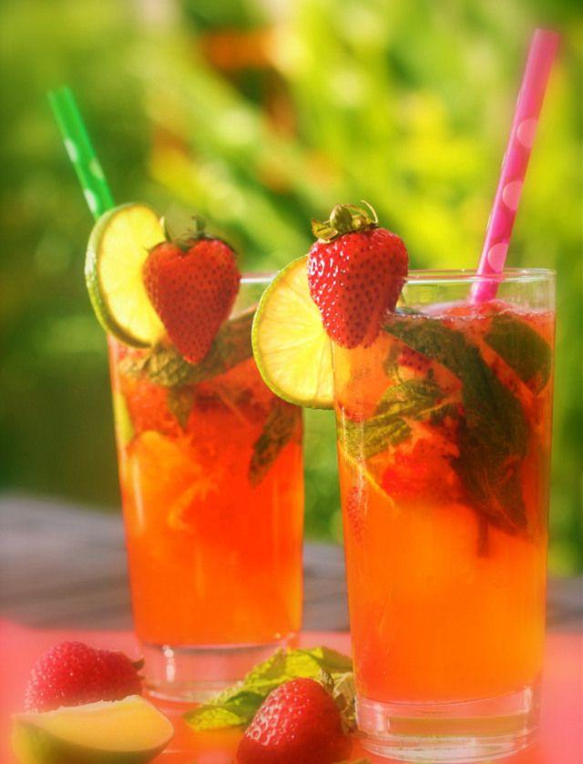 strawberry mojitos with rhubarb soda | ..♥Serving Breakfast, Lunch ...