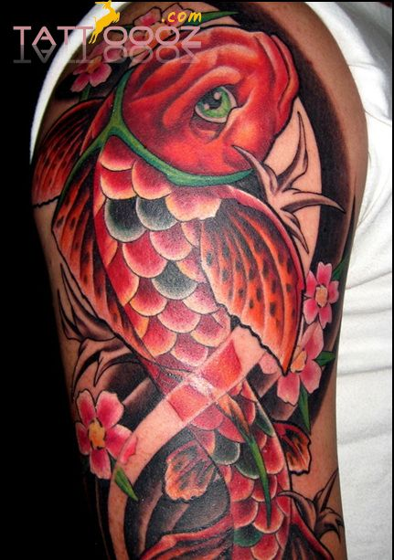 Pin by david gates on awesome tattoos pinterest for Red koi tattoo