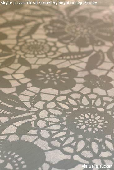 Lace stencil floor transformation for Floor stencils