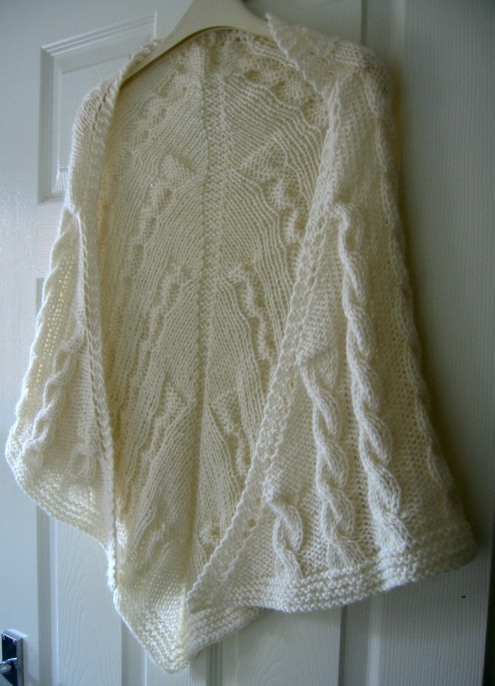 Cable Knit Shawl Pattern : Knitted Shawl PDF Knitting Pattern, Cables, Aran Yarn, Written Patter?