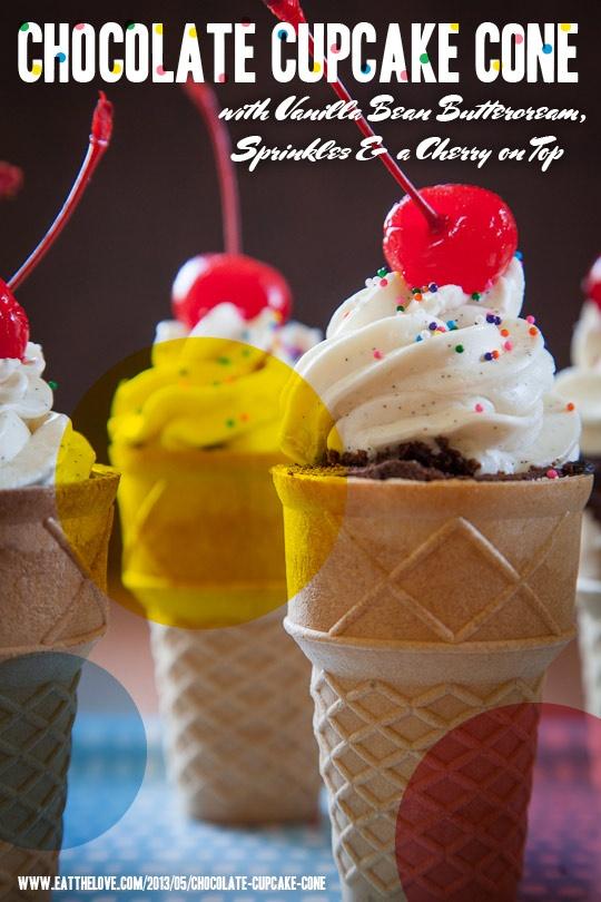 Chocolate Ice Cream Cone Cupcakes with Vanilla Buttercream, Sprinkles ...
