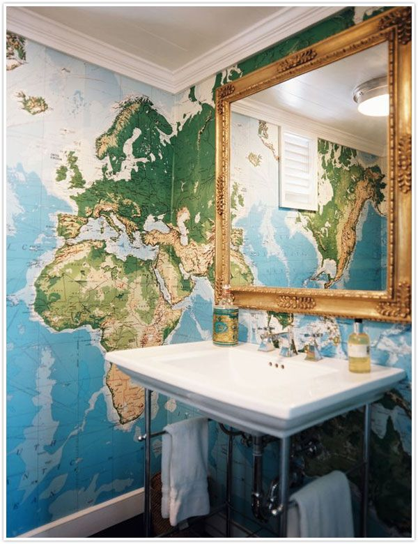 Love the map wallpaper! would love to do one wall in my kids rooms in this! they could put tacs up for places they've been and then for places they want to go!!!