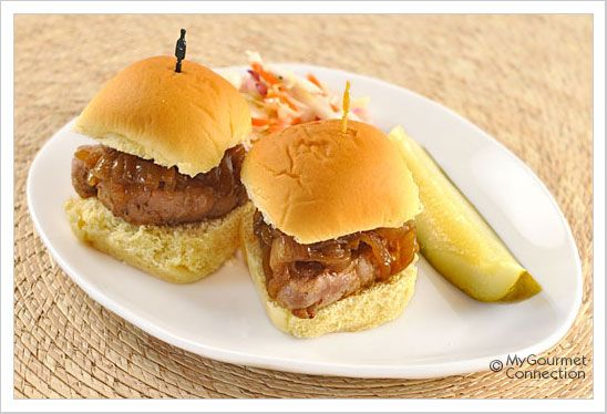 Maple-Mustard Pork Sliders with Caramelized Onions These mini sliders ...