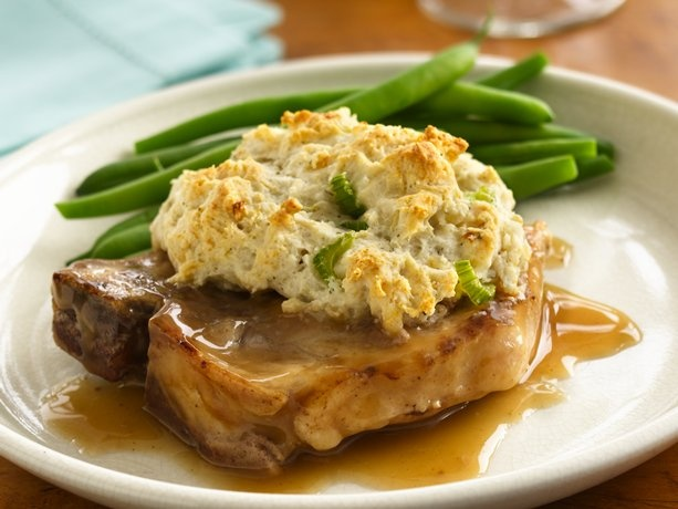 Gravy Pork Chops w/ stuffing biscuits 1 tablespoon butter or margarine ...