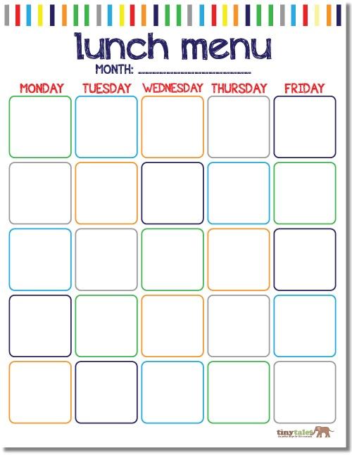 FREE School Lunch Calendar {printable}