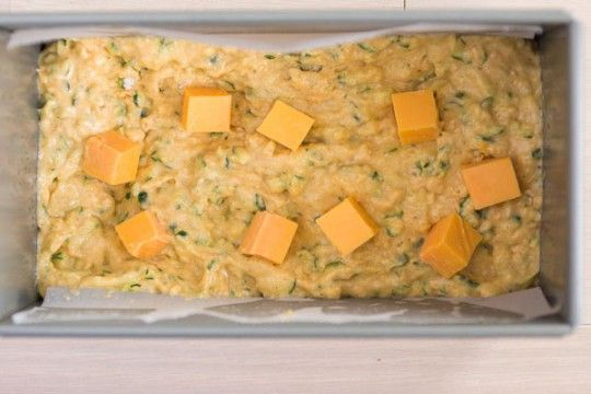 Savory Zucchini Bread w/cheese in Loaf Pan
