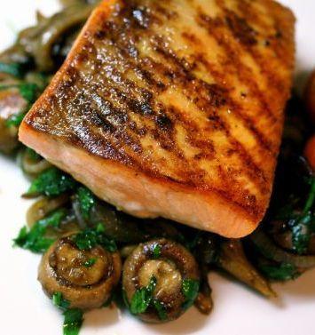 Pan-Roasted Salmon With Wild Mushrooms | Food | Pinterest