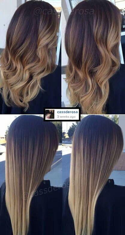 Растяжка цвета на прямых волосах