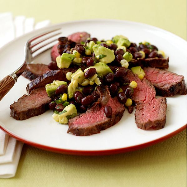 Grilled Flank Steak with Corn, Black Bean and Avocado Salad from ...