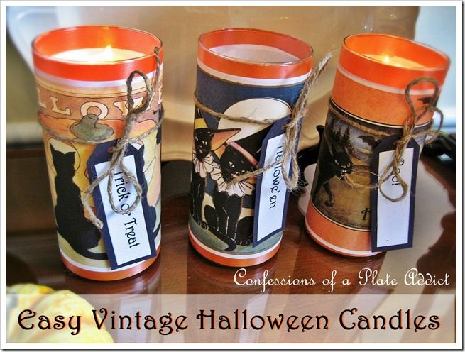 CONFESSIONS OF A PLATE ADDICT: Easy Vintage Halloween Candles